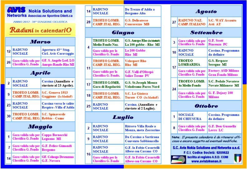 Calendario Anno 2017.Calendario Raduni Cicloturistici Strada E Mtb Ciclistica